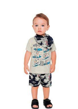 conjunto camiseta e bermuda babado bebe masculino dog team mescla fakini 2207 1