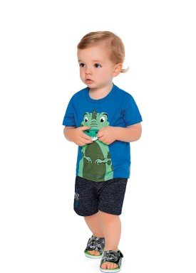 conjunto camiseta e bermuda bebe masculino dino azul fakini 2217 1