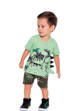 conjunto camiseta e bermuda bebe masculino dinos verde fakini 2215 1