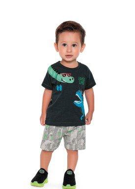 conjunto camiseta e bermuda bebe masculino jurassic summer asfalto fakini 2213 1