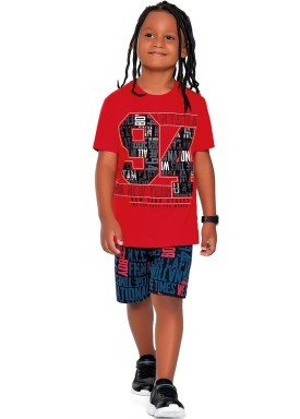 conjunto camiseta e bermuda infantil juvenil masculino college vermelho fakini 2258 1