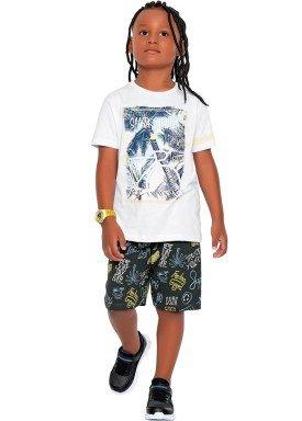 conjunto camiseta e bermuda infantil juvenil masculino summer branco fakini 2253 1