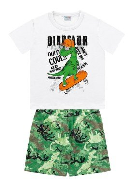 conjunto camiseta e bermuda infantil masculino dinosaur branco fakini forfun 2181