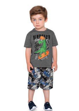 conjunto camiseta e bermuda infantil masculino dinosaur chumbo fakini forfun 2181 1