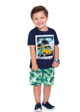 conjunto camiseta e bermuda infantil masculino east coast marinho fakini forfun 2182 1