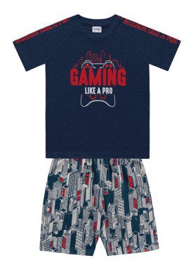 conjunto camiseta e bermuda infantil masculino gaming marinho fakini 2265
