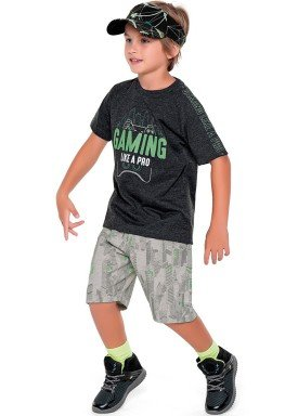 conjunto camiseta e bermuda infantil masculino gaming mescla fakini 2265 1