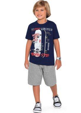 conjunto camiseta e bermuda infantil masculino never stop marinho fakini forfun 2191 1