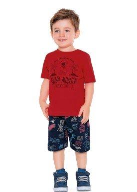 conjunto camiseta e bermuda infantil masculino santa monica vermelho fakini 2223 1