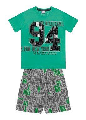 conjunto camiseta e bermuda juvenil masculino college verde fakini 2288
