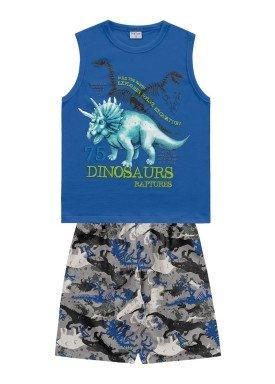 conjunto regata e bermuda infantil masculino dinosaurs azul fakini forfun 2188
