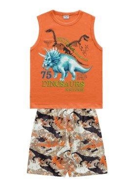 conjunto regata e bermuda infantil masculino dinosaurs laranja fakini forfun 2188