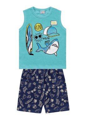 conjunto regata e bermuda infantil masculino hug me azul fakini forfun 2180