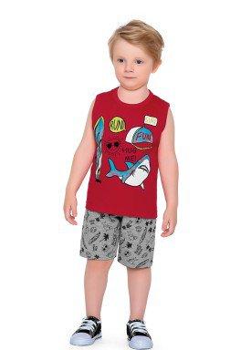 conjunto regata e bermuda infantil masculino hug me vermelho fakini forfun 2180 1