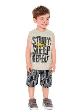 conjunto regata e bermuda infantil masculino study sleep mescla fakini 2232 1