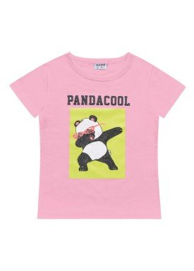 blusa meia malha infantil feminina pandacool rosa fakini 2098