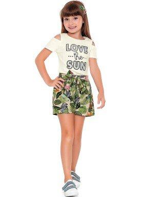 conjunto blusa canelada short meia malha infantil feminino love the sun marfim fakini 2064 1