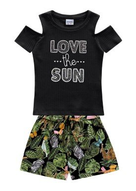 conjunto blusa canelada short meia malha juvenil feminino love the sun preto fakini 2118