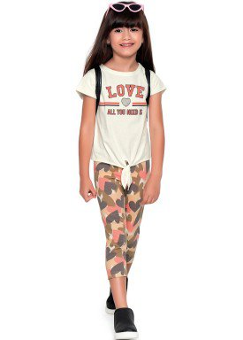 conjunto blusa e capri infantil feminino love marfim fakini 2097 1