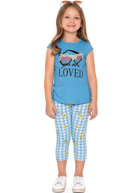 conjunto blusa e capri infantil feminino loved azul fakini forfun 2171 1
