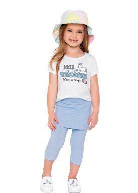 conjunto blusa e capri infantil feminino unicorns branco fakini 2043 1