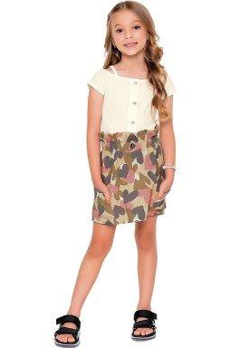 conjunto blusa e saia infantil feminino love marfim fakini 2100 1