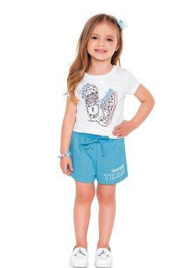 conjunto blusa e short infantil feminino magical fashion branco fakini 2044 1