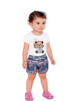 conjunto blusa meia malha e short poliester bebe feminino ursos e flamingos branco fakini 2006 1