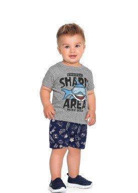 conjunto camiseta e bermuda bebe masculino shark mescla fakini forfun 2175 1