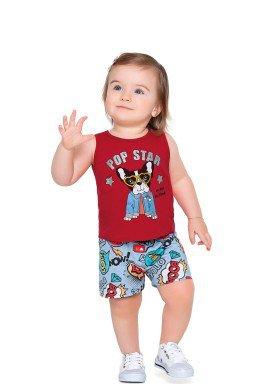 conjunto meia malha bebe feminino pop star vermelho fakini forfun 2155 1