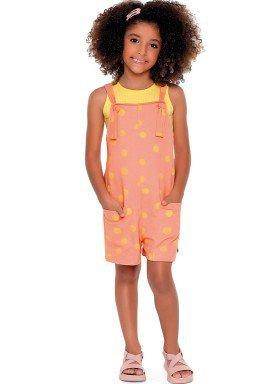 macaquinho malha stretch infantil feminino bolinhas rosa fakini 2102 1