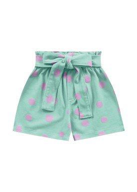 short malha stretch infantil feminino bolinhas verde fakini 2103
