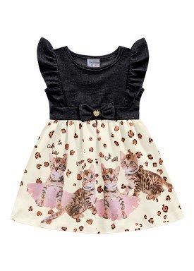 vestido malha stretch e meia malha bebe feminino cats preto fakini 2013