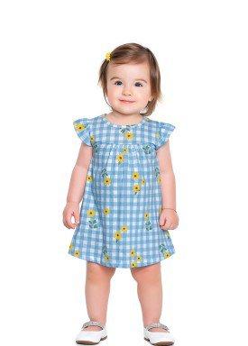 vestido meia malha bebe feminino flores azul fakini forfun 2150 1