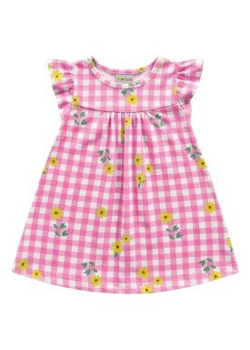 vestido meia malha bebe feminino flores rosa fakini forfun 2150