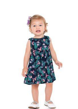 vestido meia malha bebe feminino passaros marinho fakini forfun 2154 1