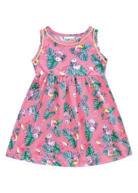 vestido meia malha bebe feminino passaros rosa fakini forfun 2154