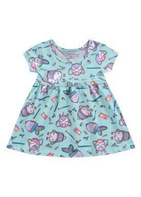 vestido meia malha bebe feminino school azul fakini forfun 2152