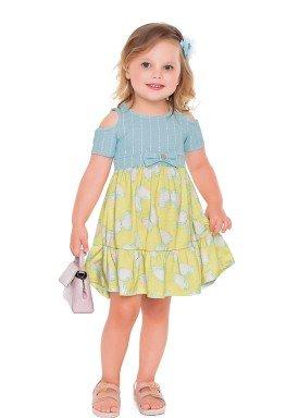 vestido meia malha e malha stretch infantil feminino borboletas azul fakini 2032 1
