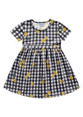 vestido meia malha infantil feminino flores preto fakini forfun 2160