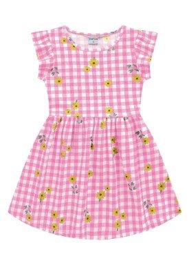 vestido meia malha infantil feminino flores rosa fakini forfun 2166