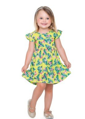 vestido meia malha infantil feminino passaros amarelo fakini forfun 2161 1