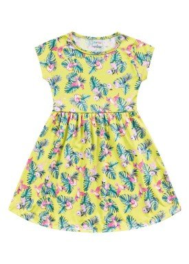 vestido meia malha infantil feminino passaros amarelo fakini forfun 2170