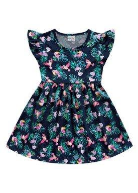 vestido meia malha infantil feminino passaros marinho fakini forfun 2161