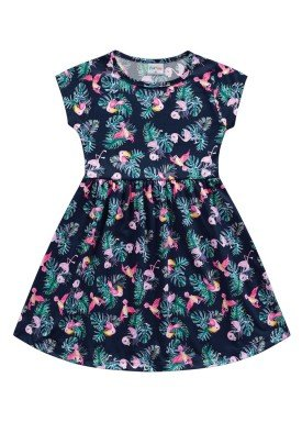 vestido meia malha infantil feminino passaros marinho fakini forfun 2170