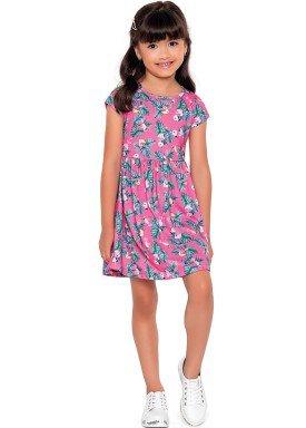 vestido meia malha infantil feminino passaros rosa fakini forfun 2170 1
