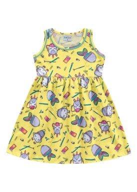 vestido meia malha infantil feminino school amarelo fakini forfun 2157