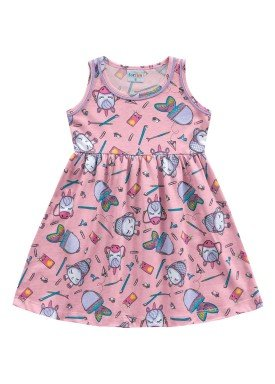 vestido meia malha infantil feminino school rosa fakini forfun 2157