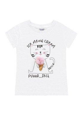 blusa meia malha infantil feminina meow branco fakini 2077