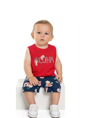 conjunto regata e bermuda bebe masculino aloha vermelho beeloop 13861 1